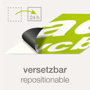 "Sticker with print ""Repositionable"""