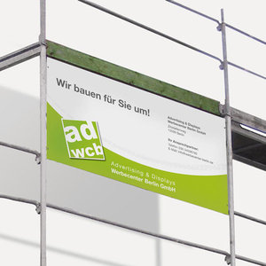 Construction site banner with print
