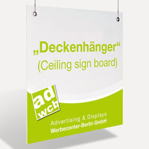 """Ceiling sign board"" - fixed sizes"