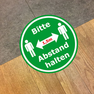 "Floor sticker ""Abstand halten"" (keep distance)"